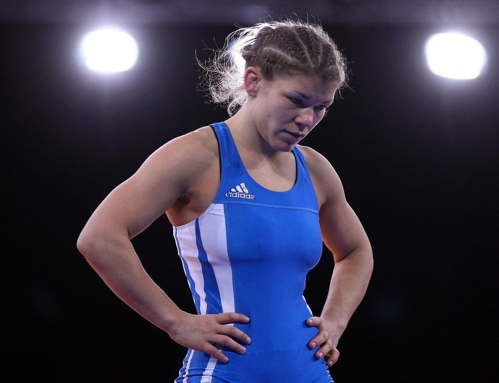 August 8, 2012: Olga Butkevych wrestles for Team GB