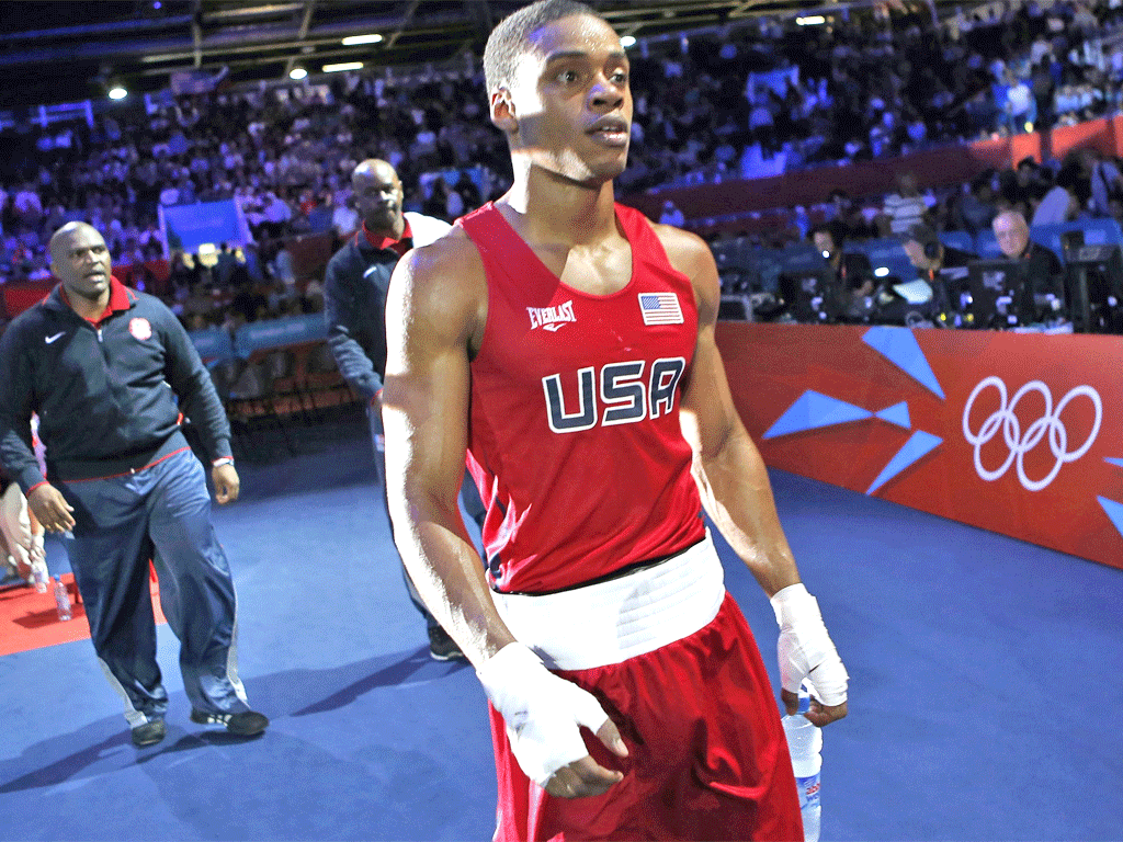 Errol Spence leaves the ring after defeat by Russia's Andrey Zamkovoy