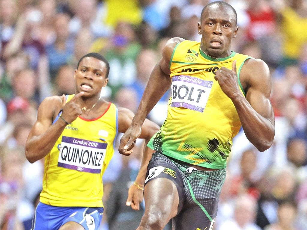 Usain Bolt on his way to victory in last night's 200m semi-final