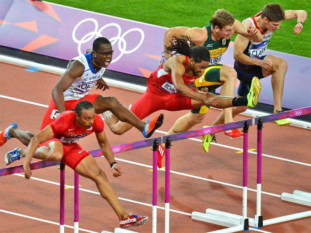 Lawrence Clarke (far right) heads for fourth in the 110m hurdles
