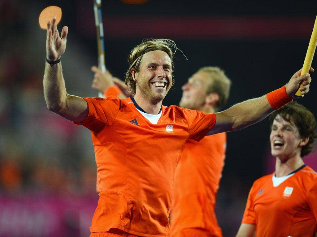 Roderick Weusthof of Netherlands celebrates scoring his team's ninth goal during the Men's Hockey Semi Final match between Netherlands and Great Britain