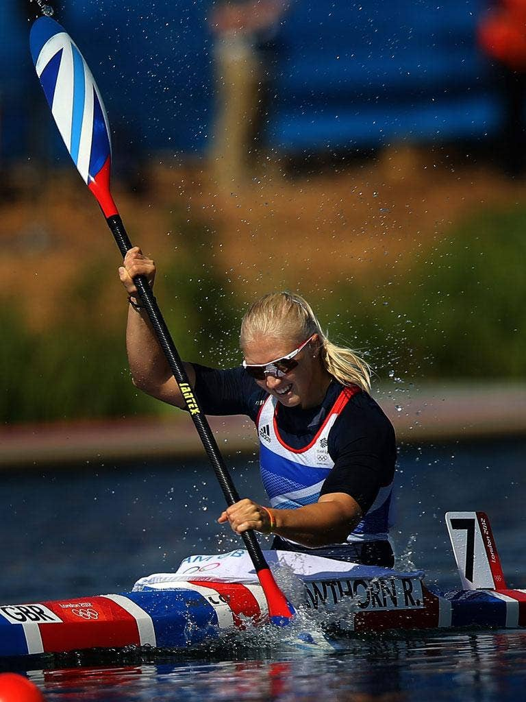 Rachel Cawthorn competes in the K1 500m women's final yesterday