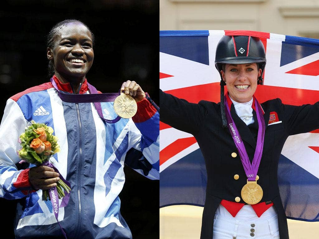 Team GB's latest gold medallists, boxer Nicola Adams and rider Charlotte Dujardin, who triumphed in the dressage