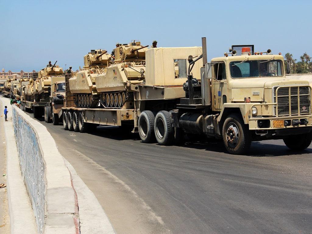 An Egyptian military convoy advances into north Sinai