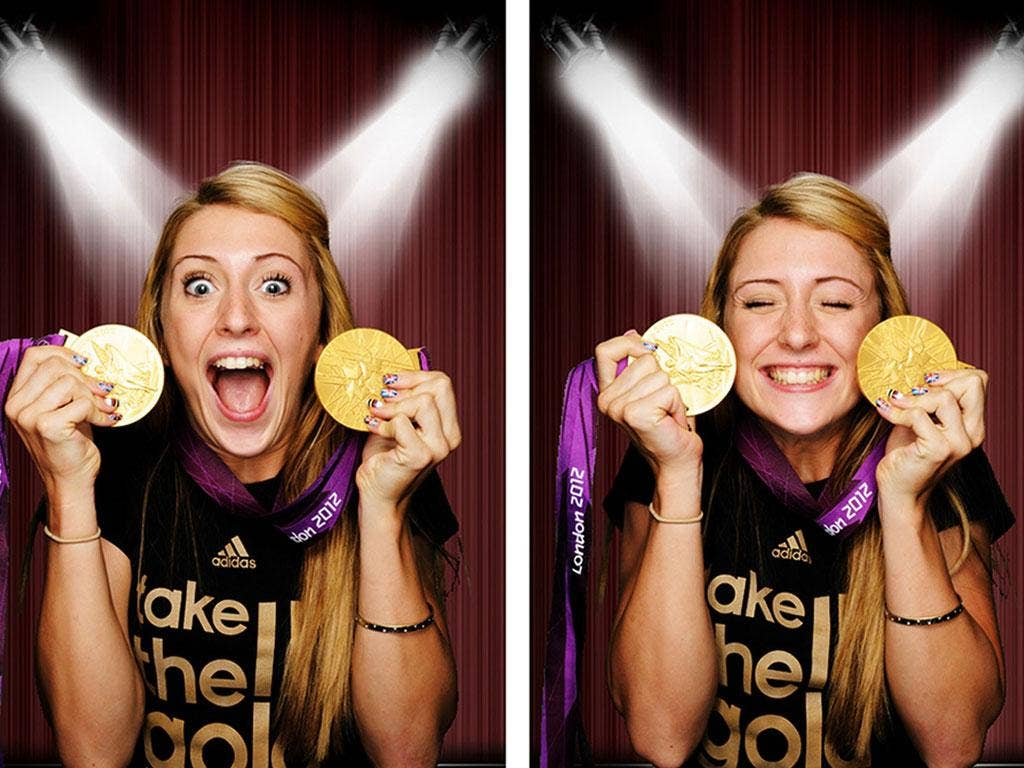 Gold standard: Laura Trott, in the Adidas photo booth with her medals, is a real role model for girls