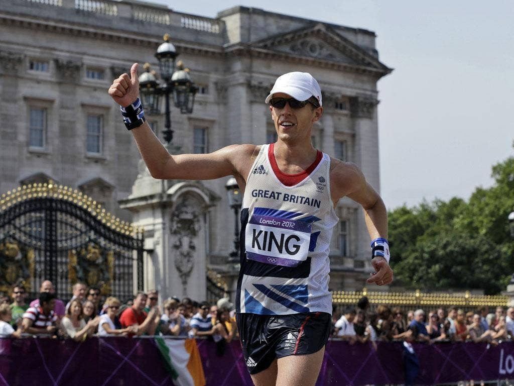 Our man at the palace: Dominic King completes his 50km walk yesterday