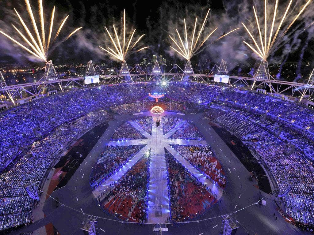 August 12, 2012: Fireworks explode during the closing ceremony of the London 2012 Olympic Games at the Olympic Stadium