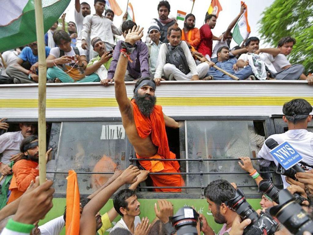 Indian yoga guru Swami Ramdev was arrested after holding protests