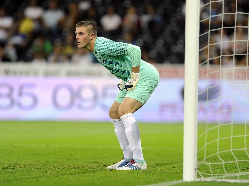 Jack Butland in action for England