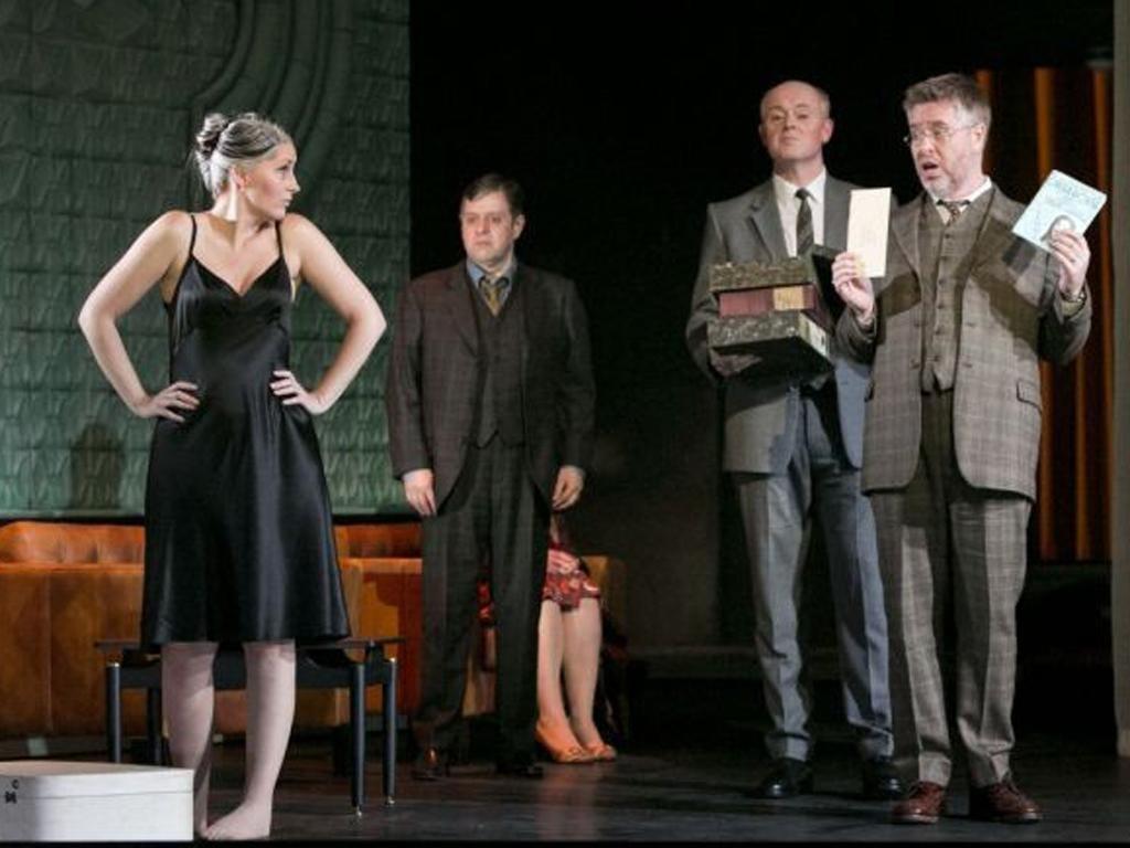 Ylva Kihlberg (far left) as EM in Opera North's 'Makropulos Case'