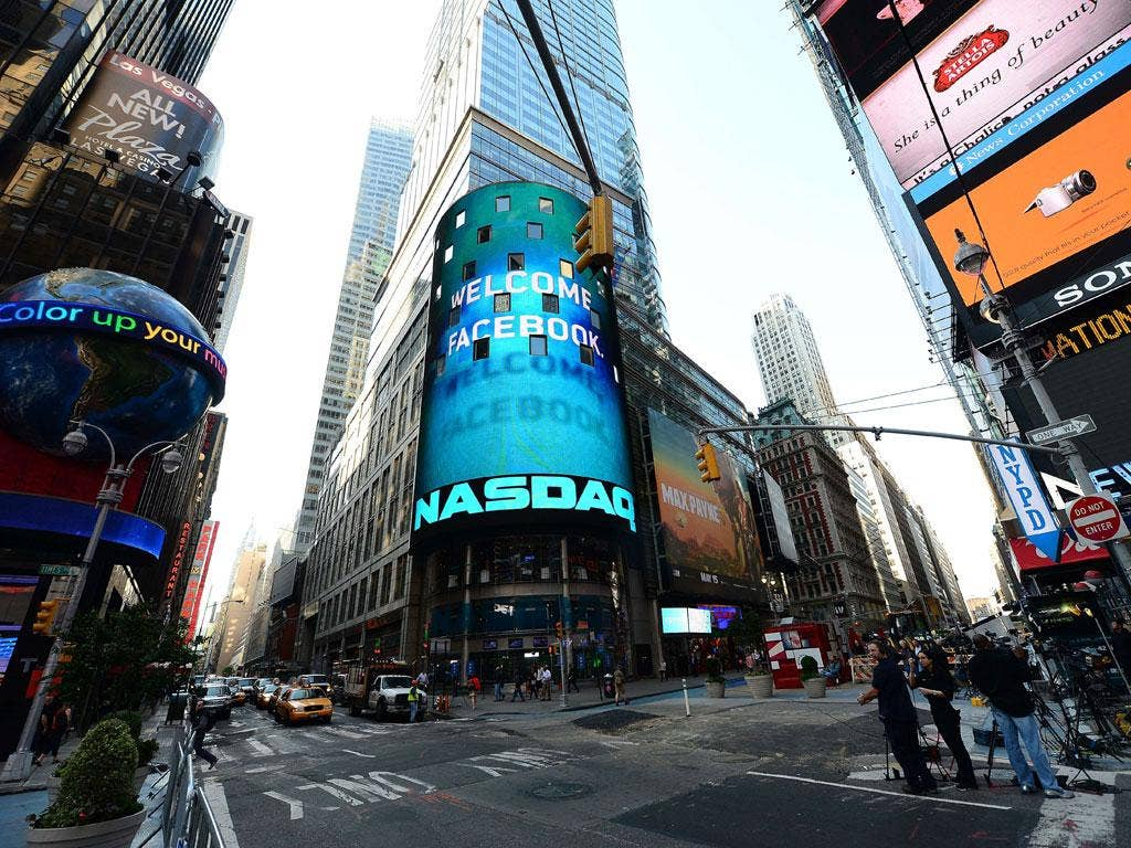 Launch pad: Time Square in New York hails the flotation of Facebook
