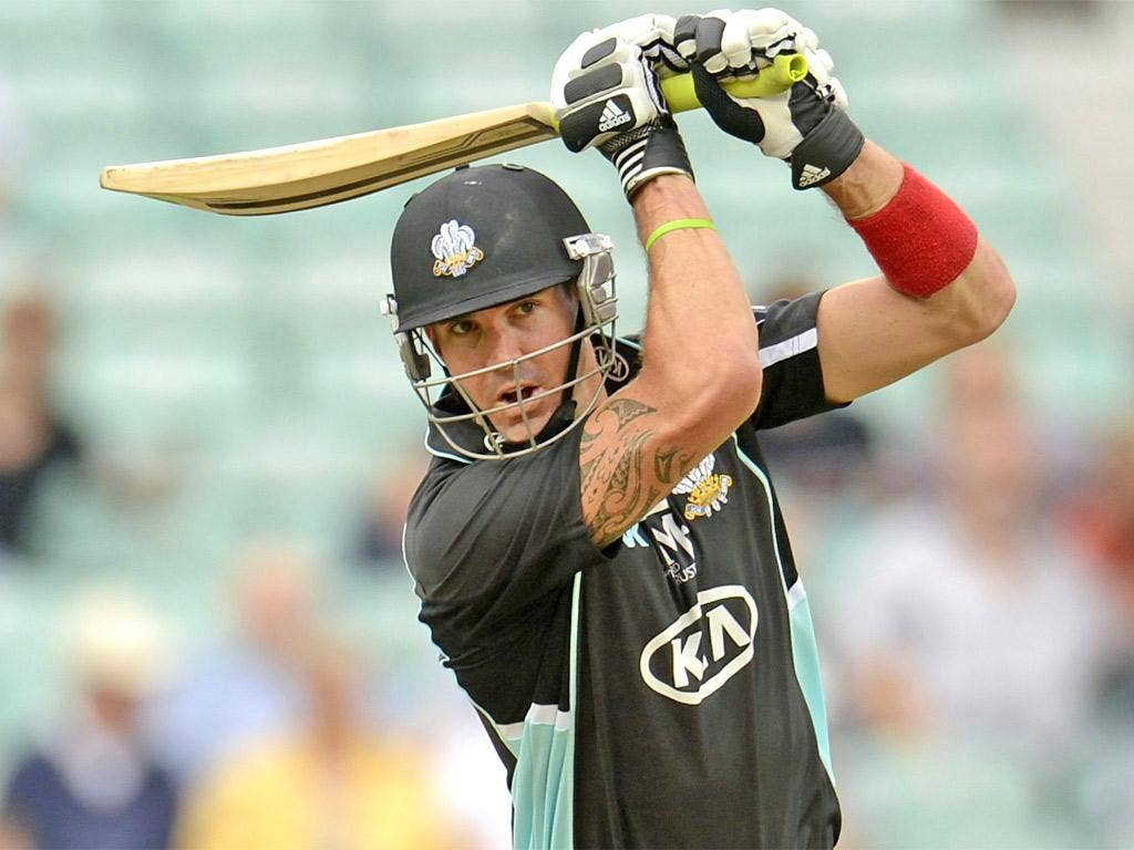 Kevin Pietersen bats for Surrey against Glamorgan yesterday – but was bowled by his former 2005 Ashes-winning team-mate Simon Jones for 43