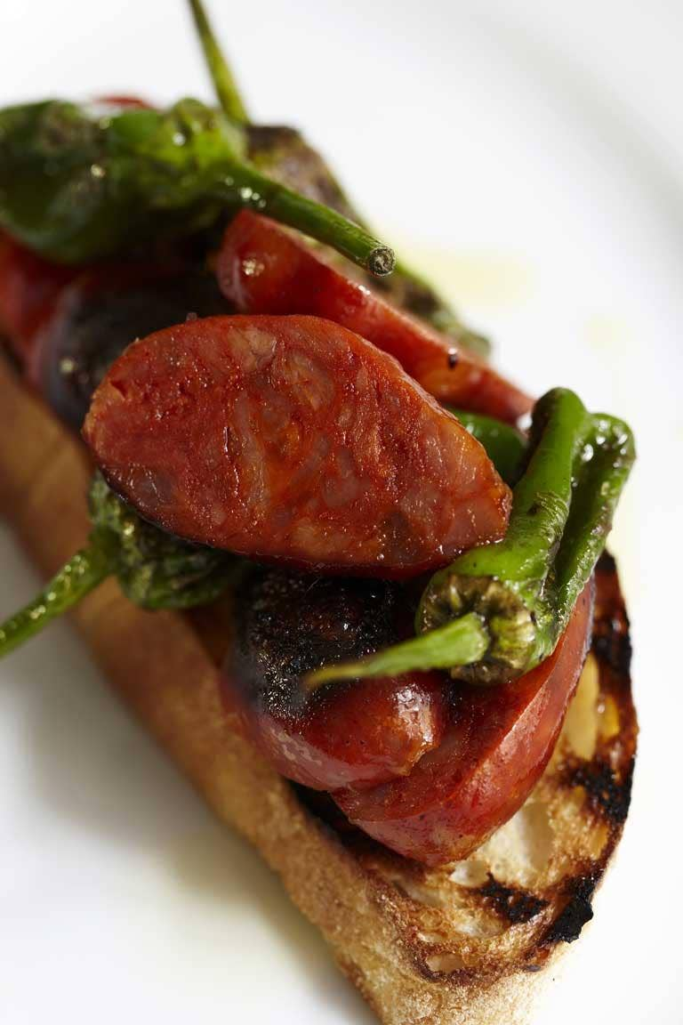 Chorizo and padron peppers on toast