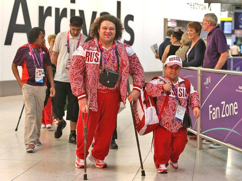 Paralympians from Russia arrive at Heathrow