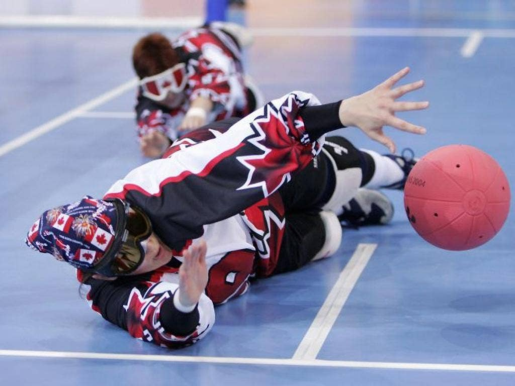 In goalball, all players wear dark glasses, so people with limited vision compete alongside those with no vision