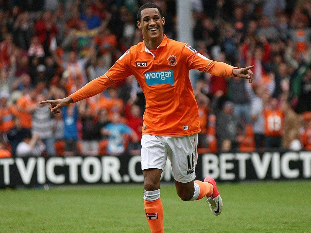 Hit for six: Thomas Ince celebrates his The winner: Luciano Becchio celebrates his brace in Blackpool's rout of Ipswich