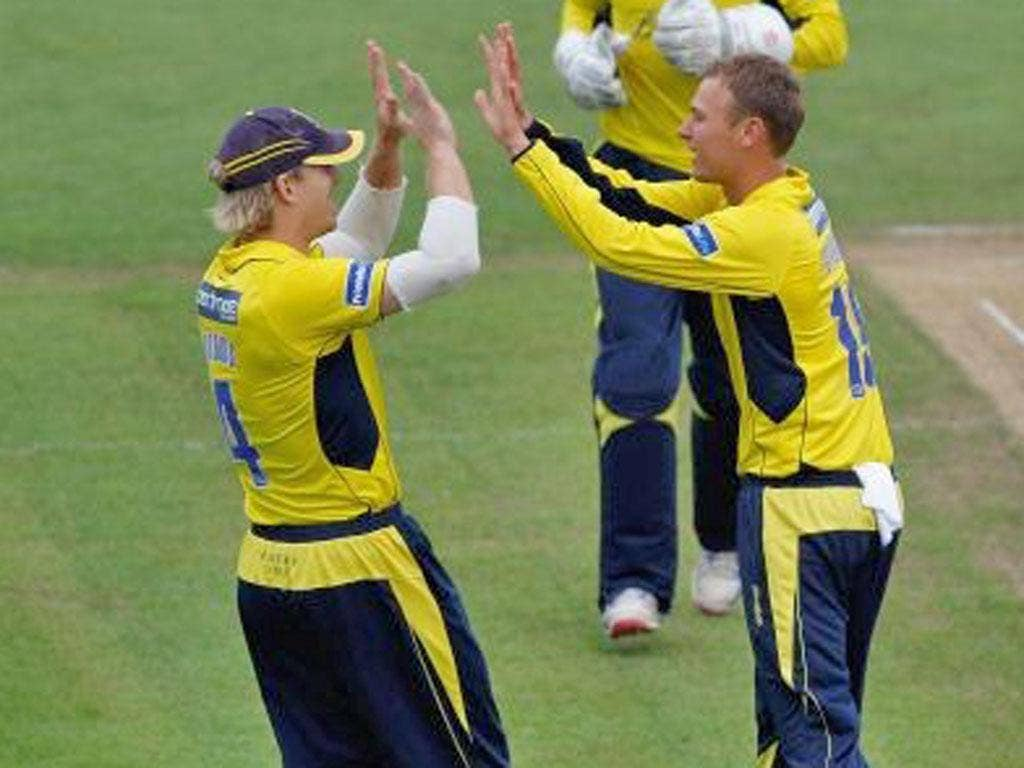 Hampshire's Danny Briggs (right) celebrates dismissing James Hildreth in the semi-final win over Somerset