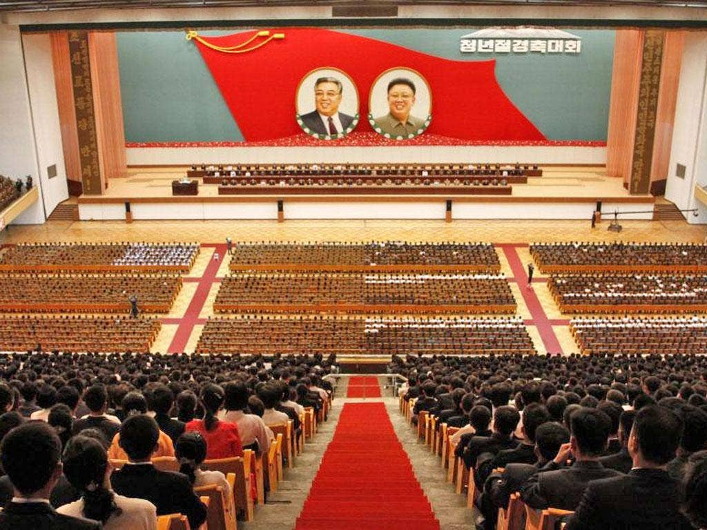 Thousands of young North Koreans gathered at the Pyongyang Indoor Stadium last night in anticipation of Youth Day