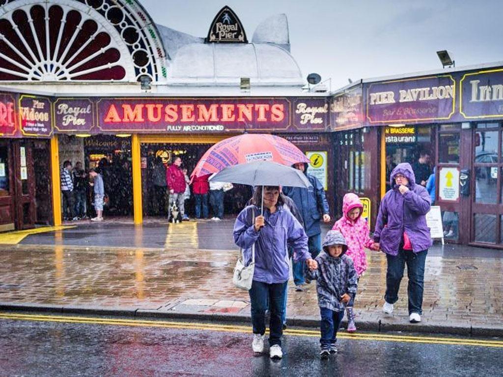 Torrential rain on the Aberystwyth promenade yesterday