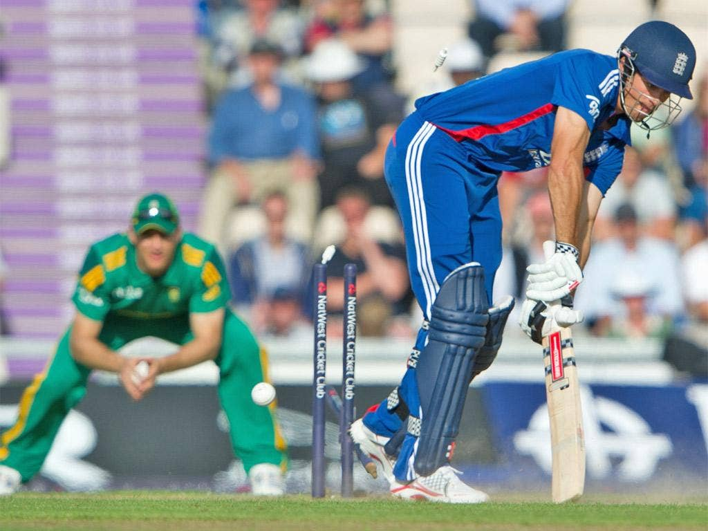 Captain Alastair Cook is bowled for a duck as England's reply begins disastrously