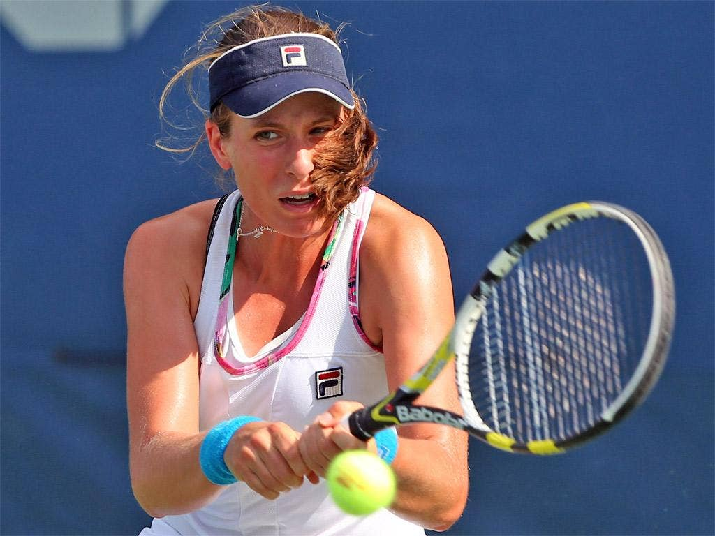 Britain's Johanna Konta hits a return during her win yesterday