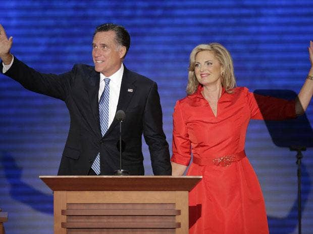 Ann Romney, waves with her husband Republican presidential nominee Mitt Romney during the Republican National Convention