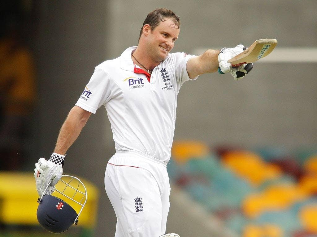 Andrew Strauss celebrates his century in the first Ashes Test back in 2010