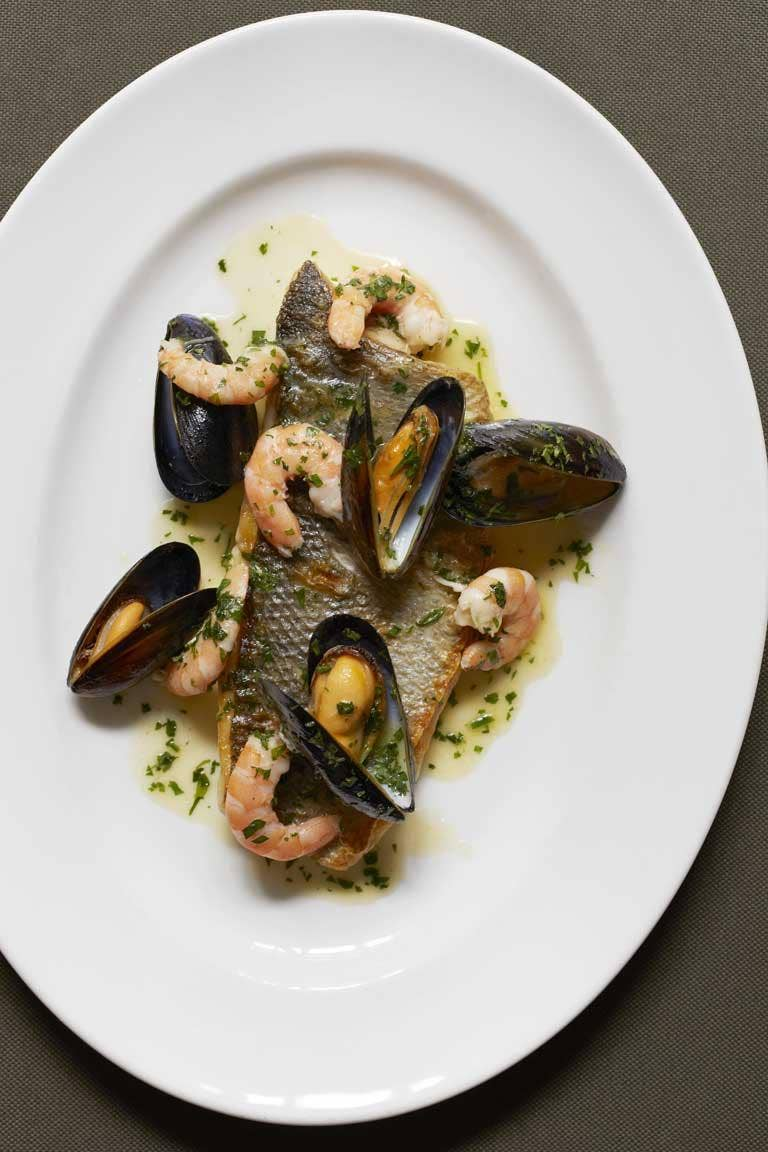 Sea bass with mussels and prawns