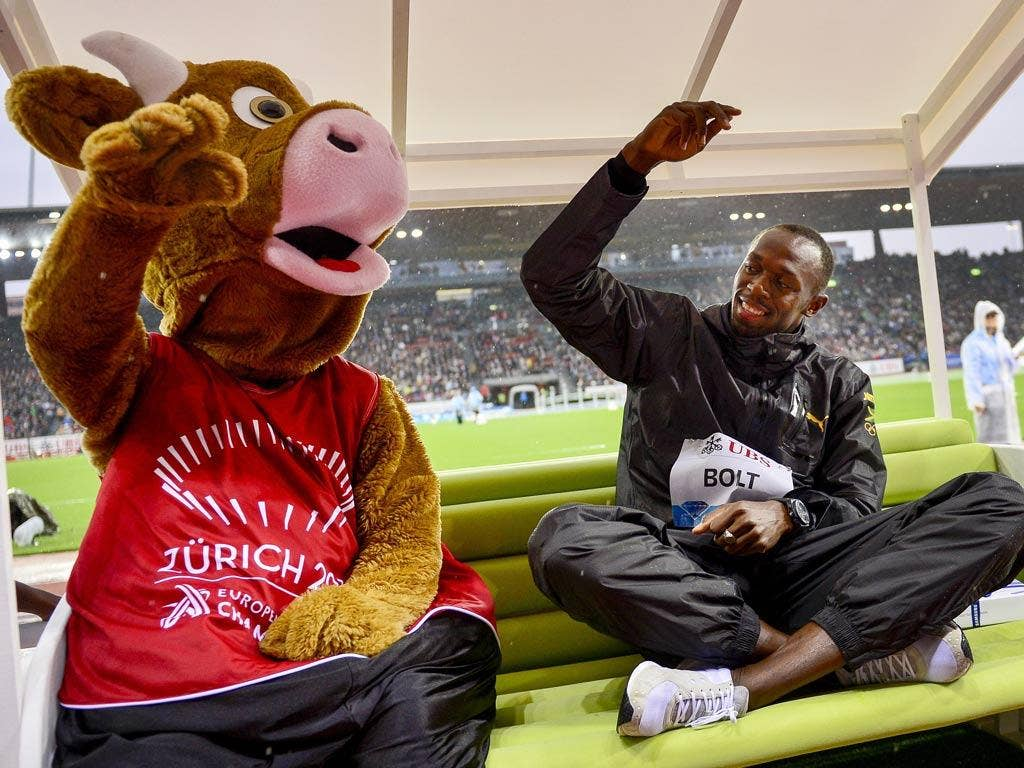 """Usain Bolt: """"I bet I can milk you in less than 10 seconds."""" (31/08/12) <br/><br/> <a href=""""http://www.independent.co.uk/captions"""" target=""""new"""">To enter the current caption competition, click here.</a>"""