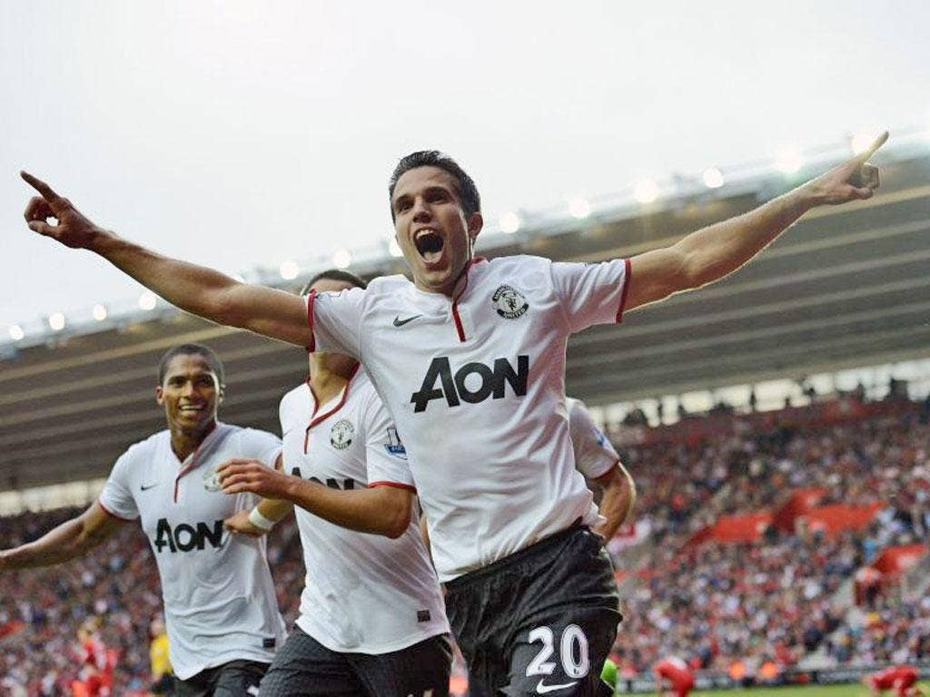 Manchester United's Robin van Persie celebrates after scoring a hat-trick against Southampton