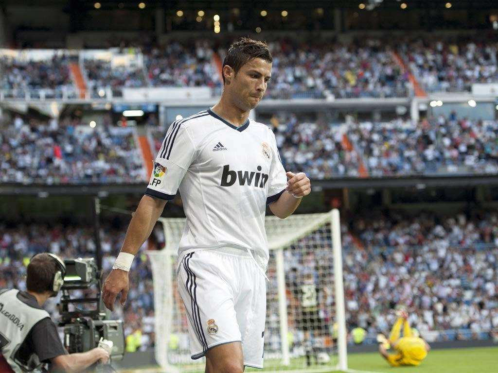 Cristiano Ronaldo pictured after scoring his first goal against Granada
