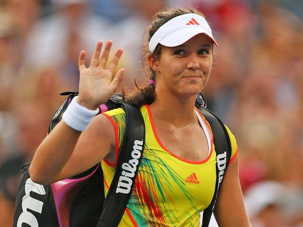 Laura Robson waves goodbye to the US Open