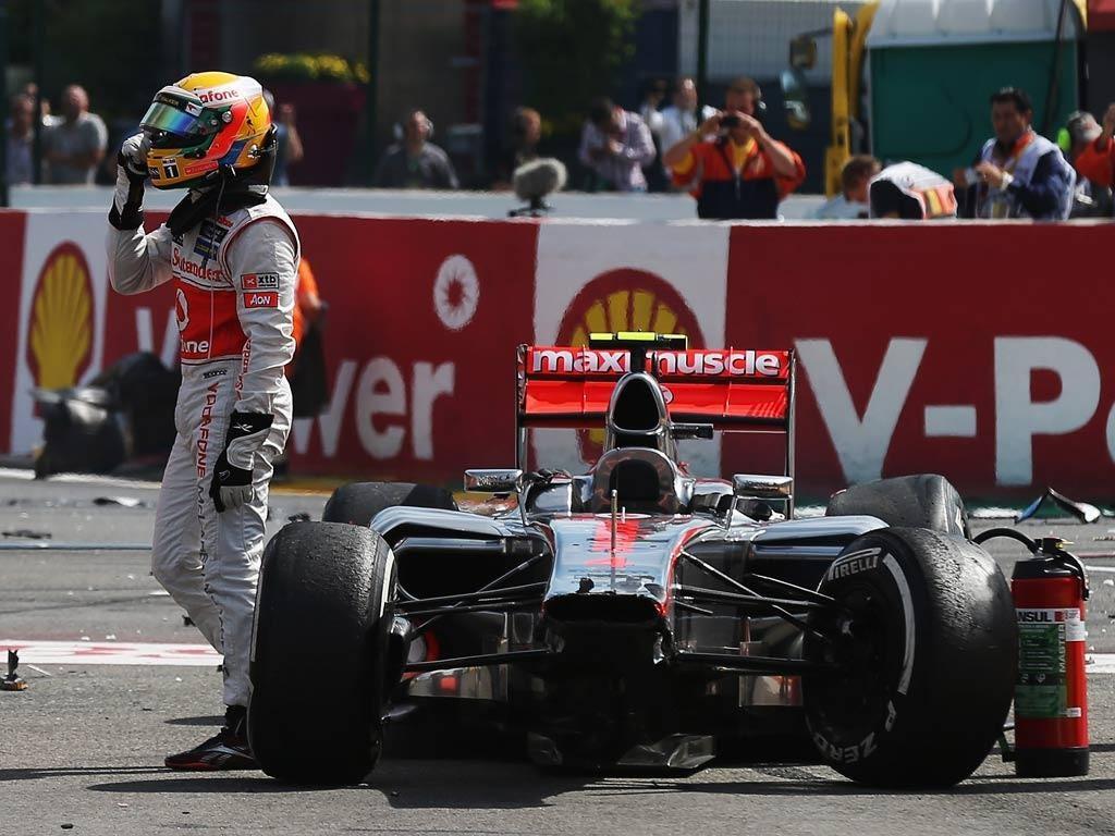 Lewis Hamilton following a first corner crash at Spa