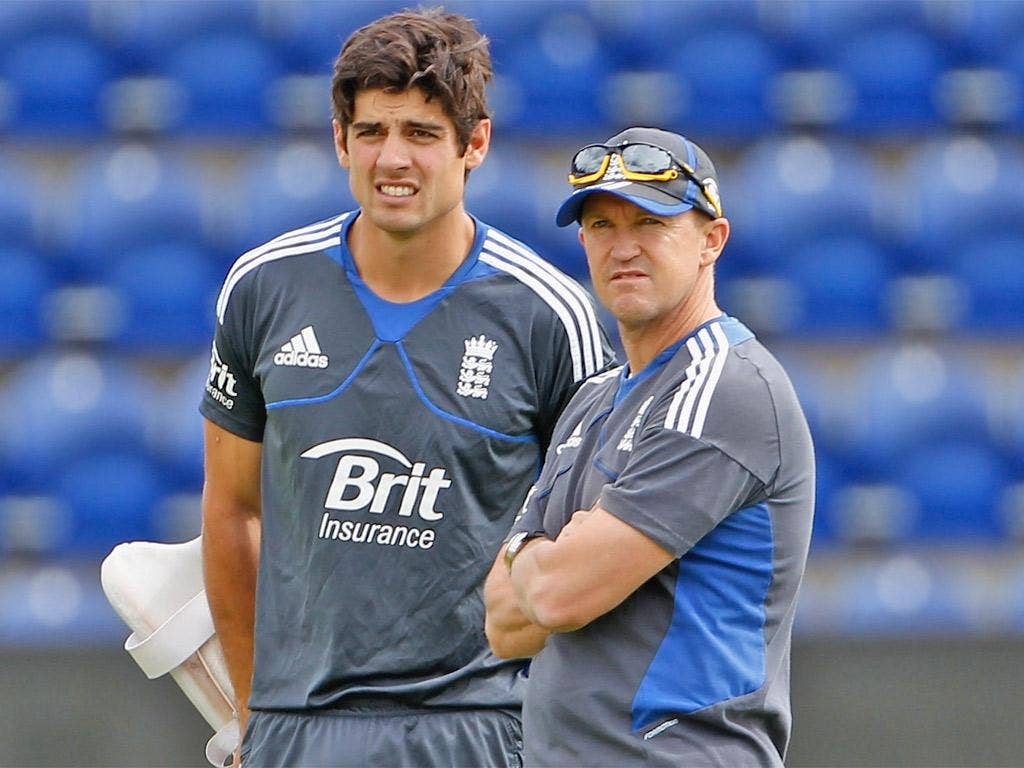 Andy Flower and England captain Alastair Cook
