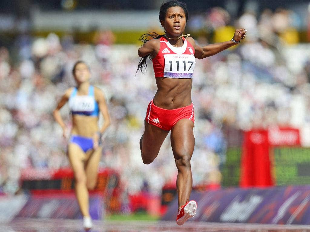 Yunidis Castillo wins a heat in the women's 100m T46 at the Olympic Stadium yesterday