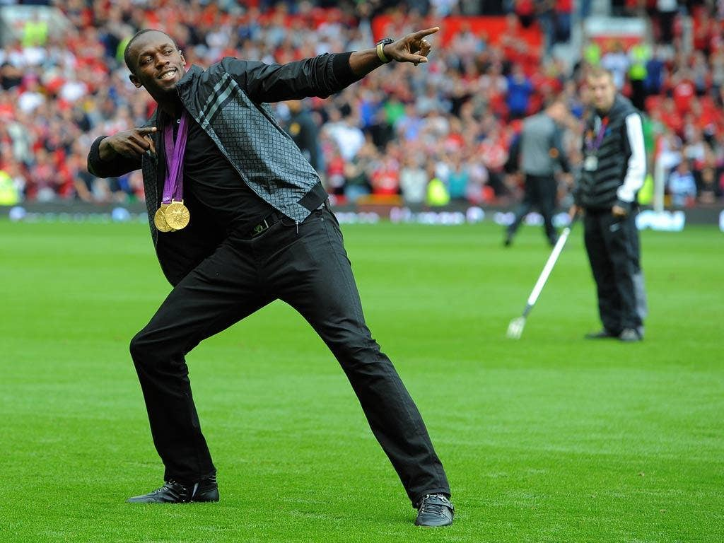 Usain Bolt pictured at Old Trafford