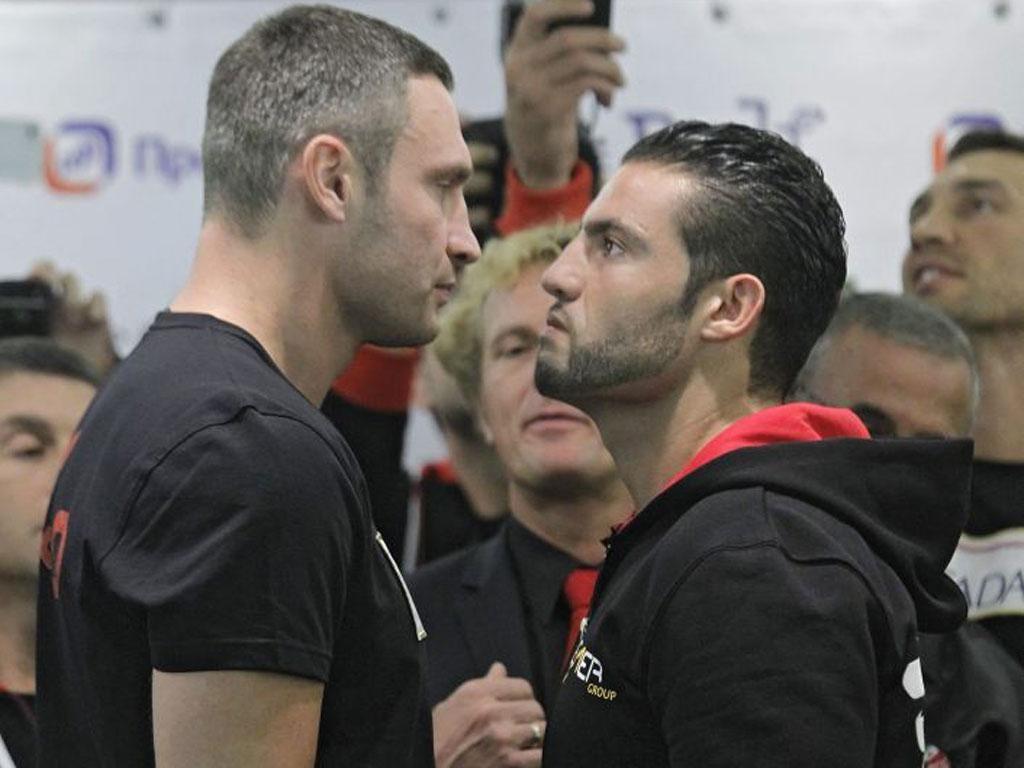 Vitali Klitschko and Manuel Charr see eye to eye yesterday