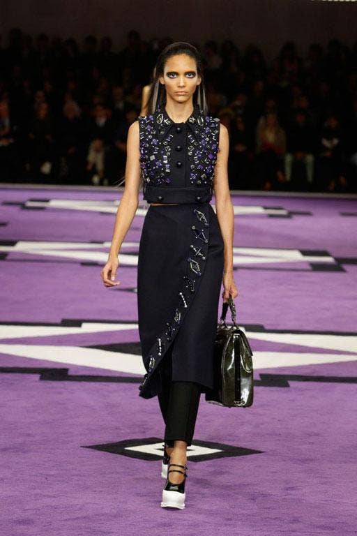 Purple may be the colour of the gods but both Christopher Kane (in London) and Miuccia Prada (in Milan) threw caution to the wind by covering their catwalks in it and sending out clothes to match