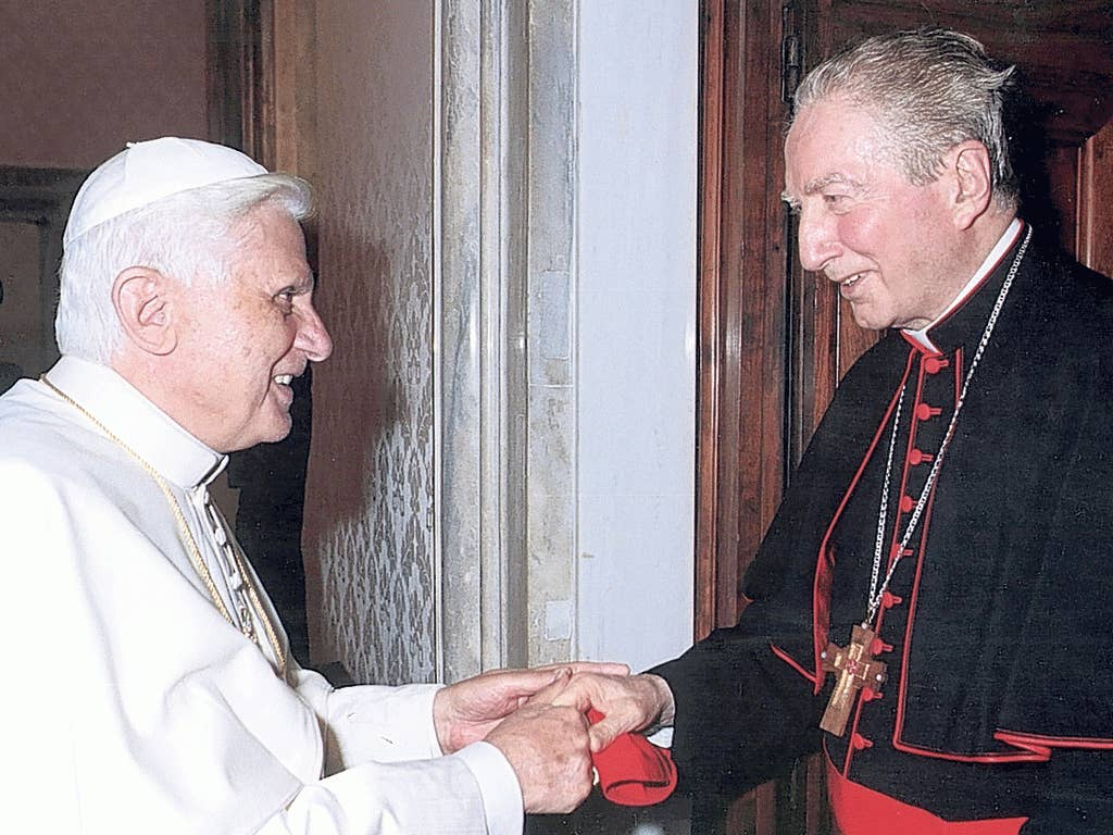 Martini, right, with Pope Benedict, had been mentioned as a possible successor to John Paul II