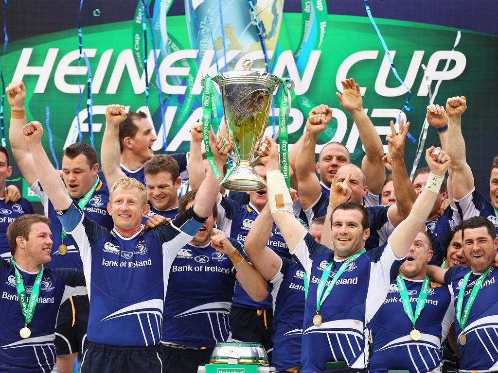 Leinster players lift the Heineken Cup after toppling Ulster at Twickenham earlier this year