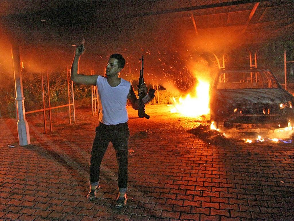 The US consulate on fire in Benghazi, Libya