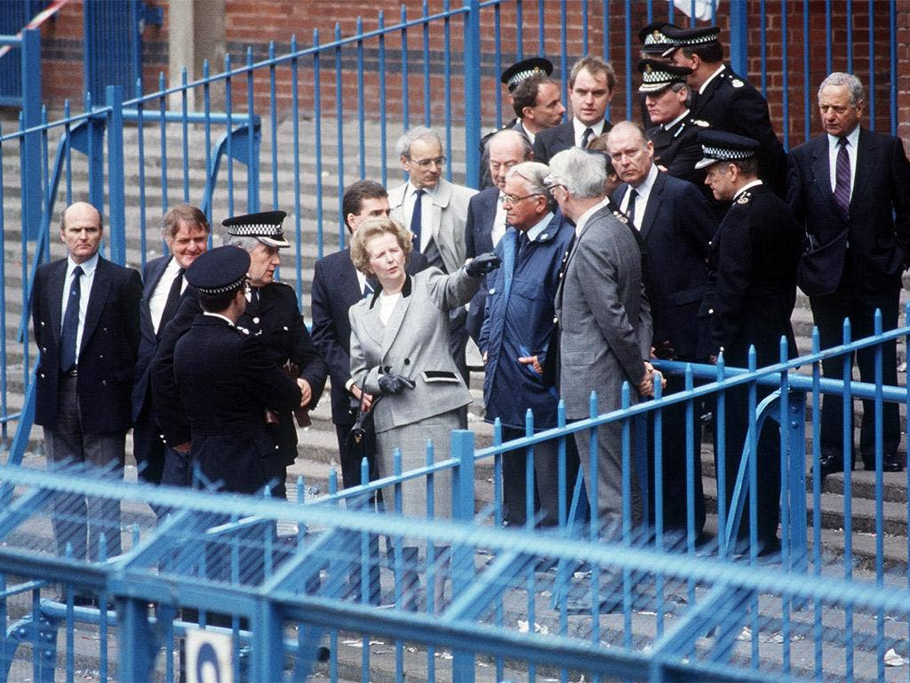 Margaret Thatcher visits the stadium at Hillsborough following the disaster