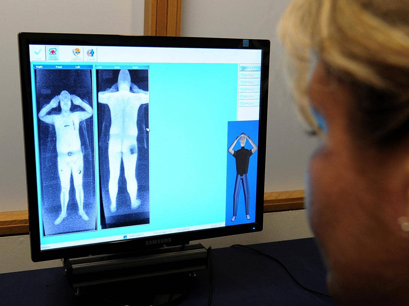 January 2010: A security officer views images from the body scanner at Manchester Airport