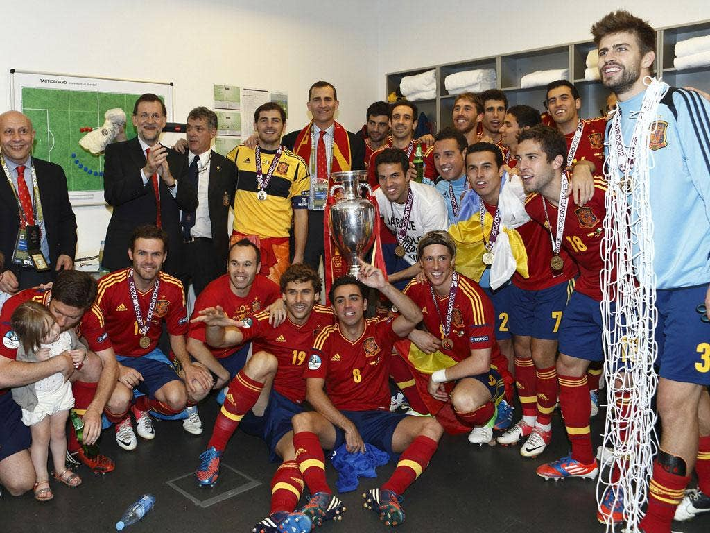 <b>25 June - 1 July 2012</b><br/> Spain's players celebrate winning Euro 2012 with Prince Felipe of Spain. It was their third consecutive major tournament win.