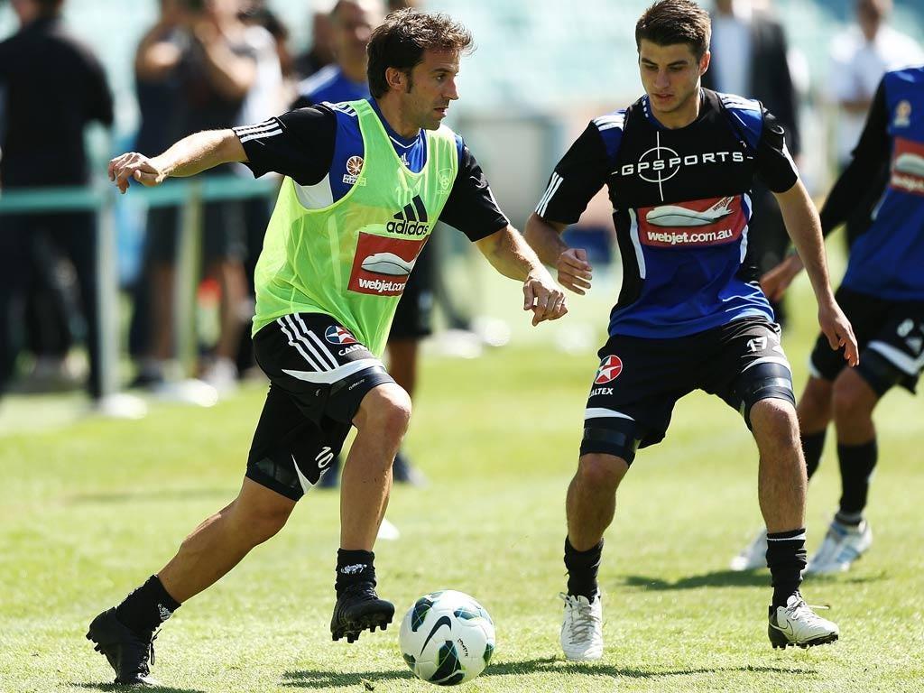Alessandro Del Piero trains with Sydney FC