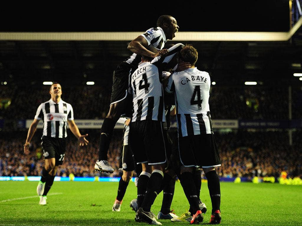 <b>17 September 2012</b><br/> Newcastle players celebrate Demba Ba's last minute equaliser as they drew 2-2 with Everton in a thrilling encounter.
