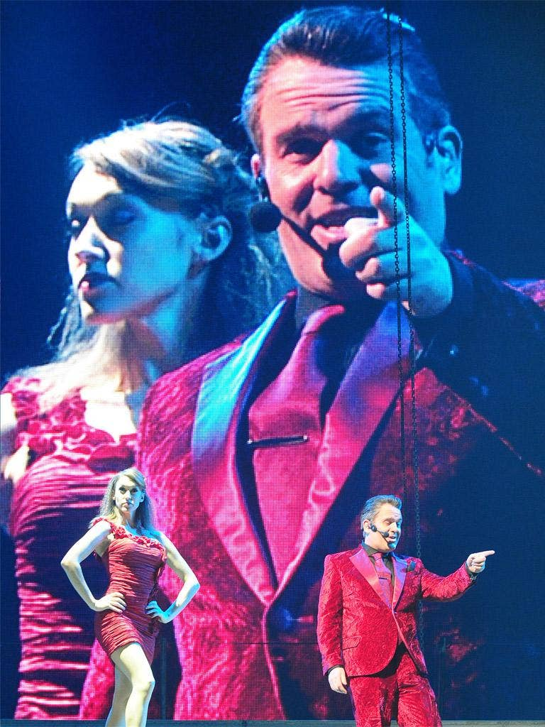 Chris Moyles as Herod during a dress rehearsal for the new production of 'Jesus Christ Superstar'