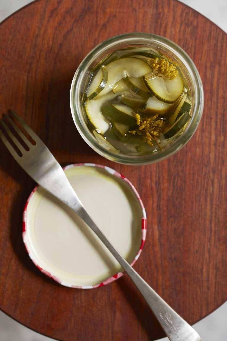 Pickled cucumbers and fennel flowers