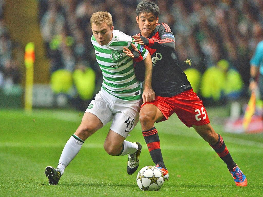 James Forrest troubles Benfica with his pace at Celtic Park