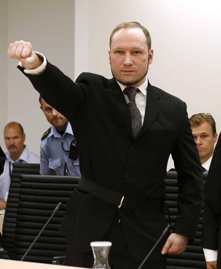 Breivik, 33, was jailed in the summer for detonating a bomb in Olso in July 2011 and shooting dead scores of young Labour Party members at a political summer camp because they held multicultural views.